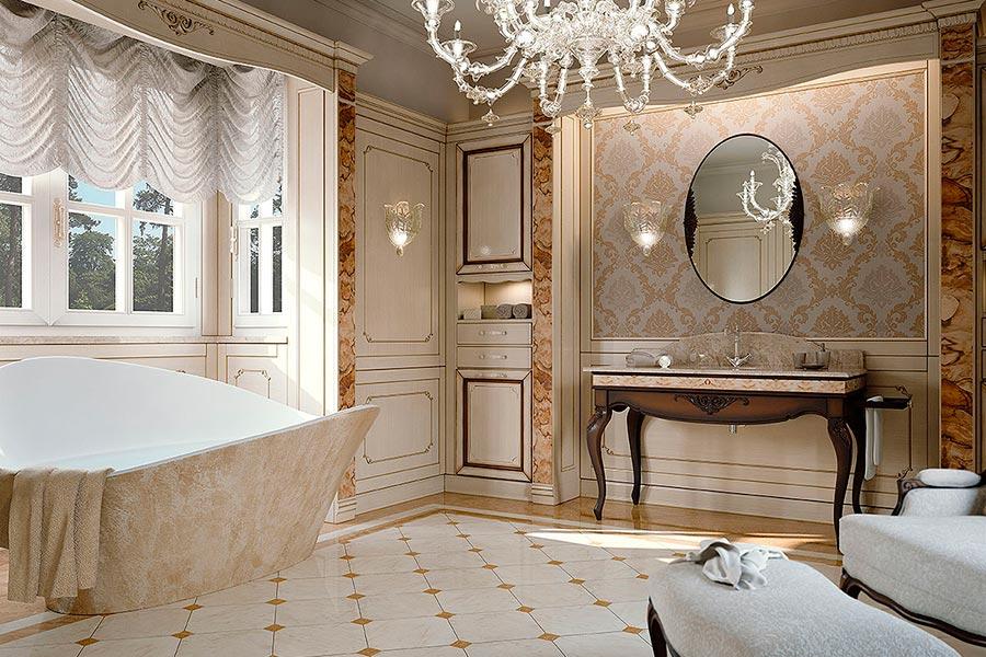 Arcari arredamenti il bagno classico elegante for Arredamento classico lusso