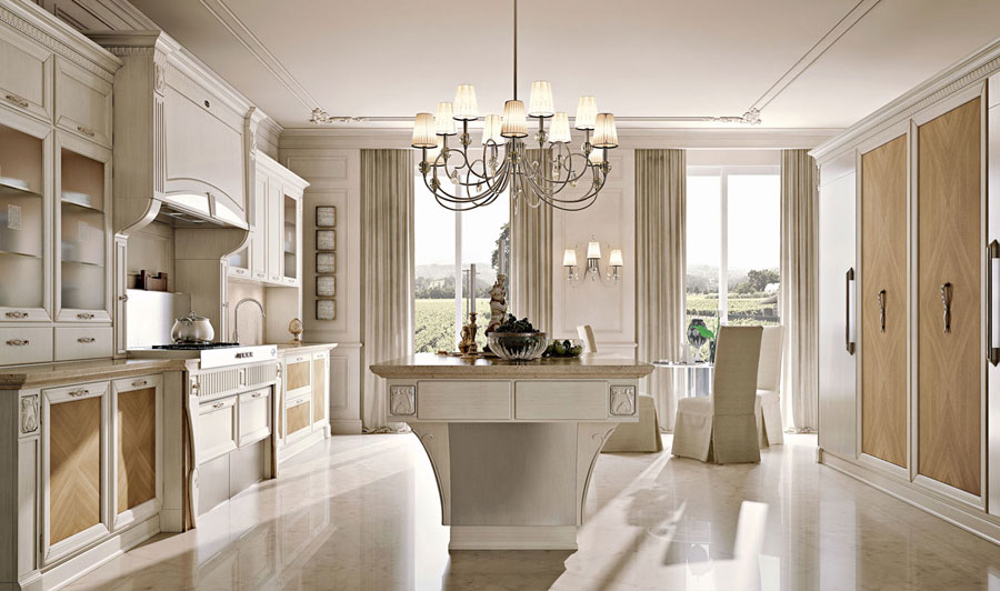 Arcari arredamenti cucina elegante for Arredamento classico bianco